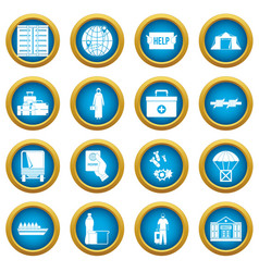 Refugees problem icons blue circle set vector