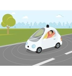 Self-driving car flat modern vector image vector image