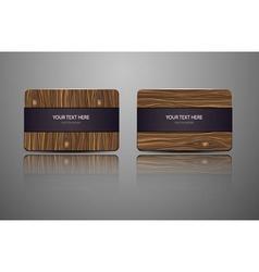 Set natural gift cards wooden credit cards vector