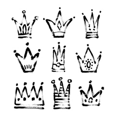 Set of 9 black and white sketch drawing princess vector