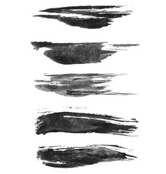 set of five brush strokes in gray halftone vector image