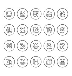 set round line icons of hygiene vector image vector image