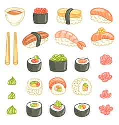 Sushi and rolls collection vector