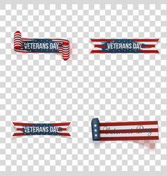 Veterans day ribbons set vector