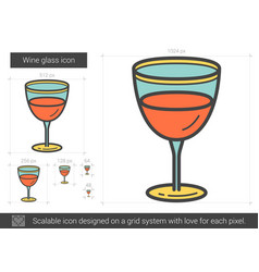 Wine glass line icon vector