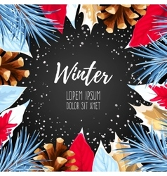 Winter card with poincettia vector image