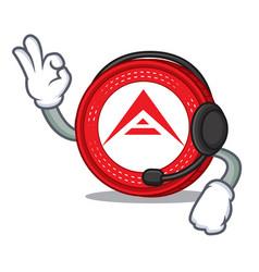 With headphone ark coin mascot cartoon vector