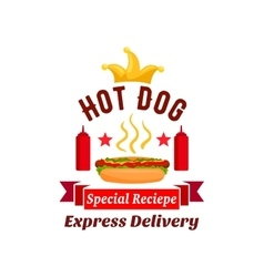 Fast food hot dog express delivery emblem vector