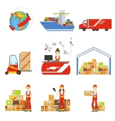 Logistics and delivery process and managers set vector