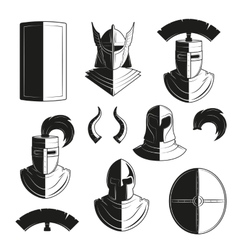set of icons of ancient helmets and vector image