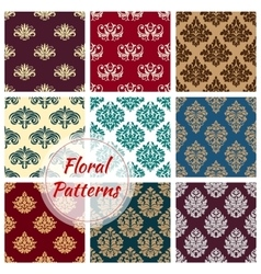 Floral ornament patterns of flowery tracery vector image