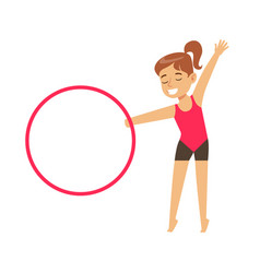 Little girl doing gymnastics exercise with hula vector