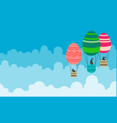 Art of easter with hot air balloon vector