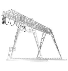Gantry crane wire-frame rendering of 3d vector