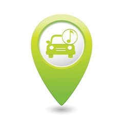 Car with music icon map pointer green vector