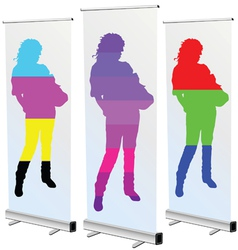 girl on roll up in cmyk and rgb color vector image