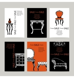 Hand Drawn Furniture Banners In Baroque Style vector image