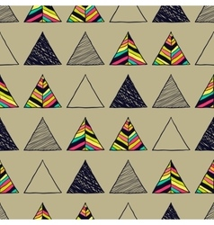 Seamless hand-drawn triangles pattern vector