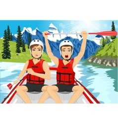 Two young men in a raft boat crossing finish vector