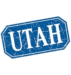 Utah blue square grunge retro style sign vector