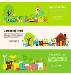 Nature and gardening tools flat horizontal banners vector