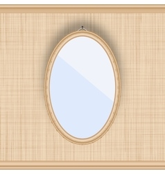 Blank oval picture frame on a beige wall with vector