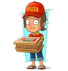 Cartoon delivery man with few pizza box vector