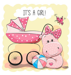 baby carriage and hippo vector image vector image
