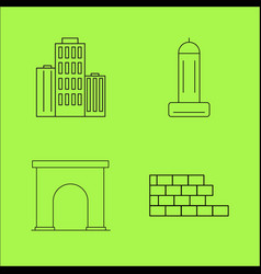 Buildings ans construction simple linear outline vector