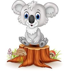 Cartoon adorable koala sitting on tree stump vector