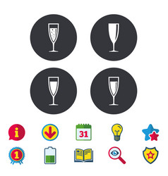 Champagne wine glasses signs alcohol drink vector