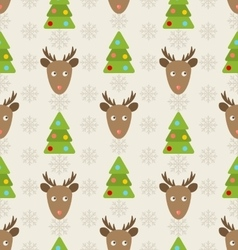 Christmas Seamless Pattern with Deers vector image vector image