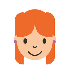 cute young girl head avatar character vector image