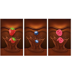 dark chocolate splash with strawberry vector image