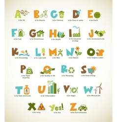 Ecology green alphabet with collection of elements vector image