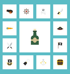flat icons chest sword pirate and other vector image vector image
