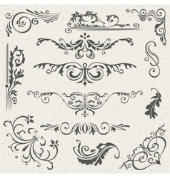 Flourish Border Corner and Frame Elements vector image vector image