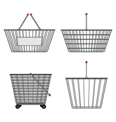 Four realistic metallic chrome wire empty baskets vector image