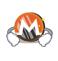 Hand on waist monero coin character cartoon vector
