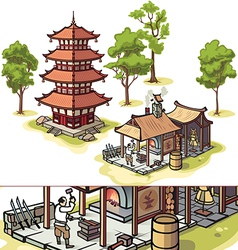 Japanese Pagoda and Medieval Blacksmith vector image vector image