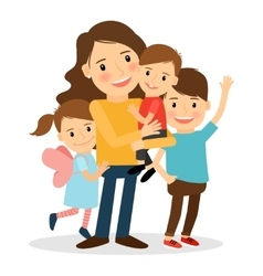 Mother with kids vector image vector image