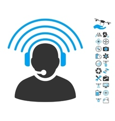 Operator radio signal icon with air drone tools vector