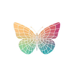 polygonal silhouettes of colorful butterfly vector image