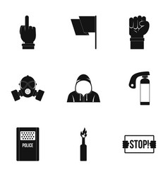 Rebel demonstration icon set simple style vector