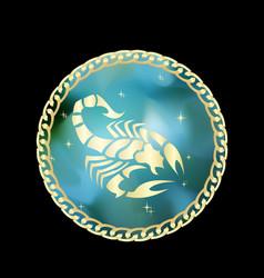 Scorpio zodiac sign in circle frame vector