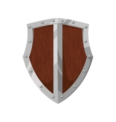 Shield wood badge protection label security icon vector