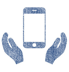smartphone care hands fabric textured icon vector image