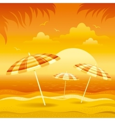Sunset beach background with sea and stripped vector image