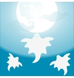 Three ghost flying under a full moon vector