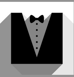 tuxedo with bow silhouette black icon vector image vector image
